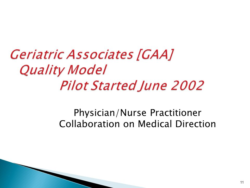Geriatric Associates [GAA] Quality Model Pilot Started June 2002